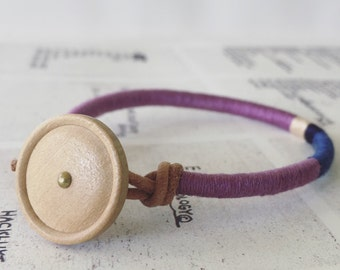 READY TO SHIP - Cooper bracelet - leather wrap, vintage wood button closure, handmade jewelry