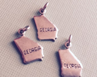 Georgia State Charm Pendant with Loop, Antique Silver, Great for Charm Bracelets, Necklaces, Earrings