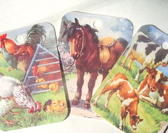 Farm Animal Gift Tags,Set of 9 Vintage Inspired,Goats,Cows,Pigs,Sheep,   Chicken,Horses,Old McDonald Had a Farm,Ready to Ship,Direct Deposit