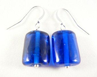 Blue Murano glass beads earrings