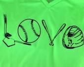 Baseball love drifit v-neck shirt, custom design, baseball grandma, mom t-shirt, dri wicking, team shirt, softball, tournament