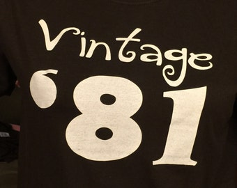 Clearance sale Vintage 1981 shirt, 35th birthday gift idea, Size Ladies XL brown only, birthday parties SALE