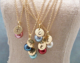 SEVEN Personalized Pearl  Necklaces in Your Choice of Colors. Bridesmaid. Friendship. Love.Set. Bridesmaids. Bridal Party