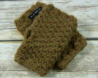 Hand Knit 100% Alpaca Fingerless Gloves - Green