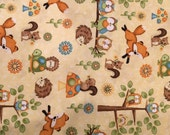 HOOT HOOT HOORAY by Henry Glass Fabrics all over pattern directional cotton quilt fabric with owls, foxes and animals