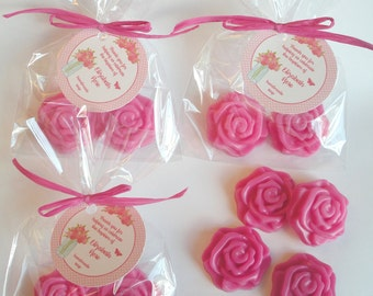 Rose Party Favors Baptism Favors Bridal Tea Anniversary Party Confirmation Favors Handmade Soap (20 complete favors with tags-40 soaps)