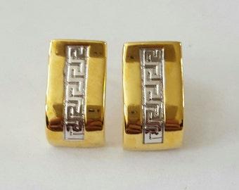 Vintage 14k 2-Tone Yellow & White Gold Greek Key Post Earrings
