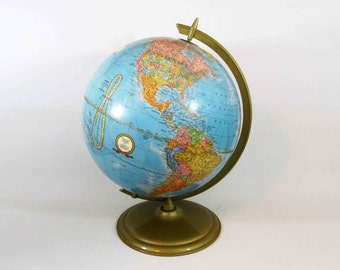 Vintage 12 Inch Crams Imperial World Globe with Brass Finish Base. Circa 1970's.