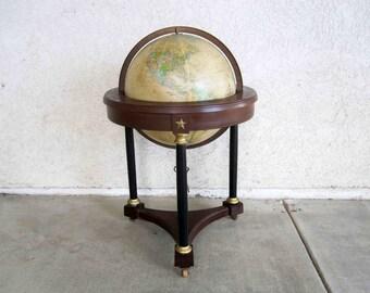 "Vintage Replogle 16"" Diameter Illuminated Heirloom Globe.  Circa 1970's."