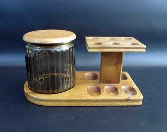 Vintage 6 Pipe Tobacco Stand with Glass Tobacco Humidor Jar. Retro Wood Humidor.