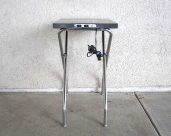 Vintage Industrial Projector Table with Powered Outlet Tabletop. Circa 1960's.