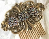 Gilded Lily Large Antiqued Gold Swarovski Crystal Hair Comb