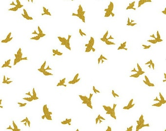 Brambleberry Ridge Flight in White with Gold Michael Miller Fabric, Choose your cut
