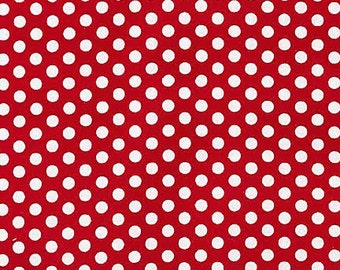 Michael Miller Fabric Kiss dot Polka Dot Red, Choose your cut