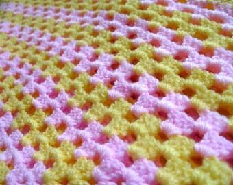 Crochet Baby Blanket Yellow Pink Baby Blanket Baby Shower Gift Newborn Girl Christmas Gift