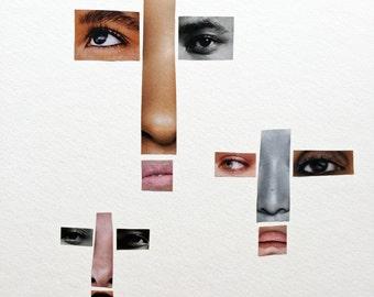 "Cross Art, Christian Art, Crosses, Christian Wall Decor, Three Crosses, Faces, Small Art, Collage Art, Hostess Gift, GICLEE PRINT 6"" x 6"""