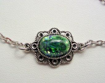 Emerald Green Fire Opal Vintage Glass Chain Bracelet Antique Silver Finish