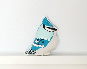 Bird Pillow - Bluejay - Throw Pillow, Decorative Pillow, Baby Pillow, Nursery Pillow, Stuffed Animal