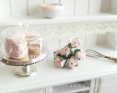 1:12 Scale Dollhouse Miniature Shabby Chic Pink Cake With Clare Bell Brass Cake Stand-Polymer clay food miniature-Scented