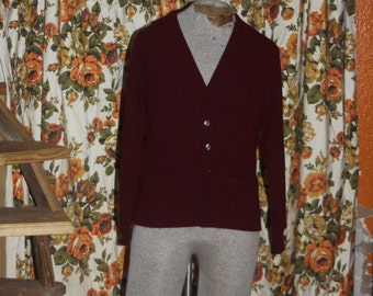 Vintage Maroon Old Man Button Up Sweater M
