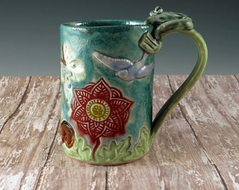 Pottery Cup Mandala Flower - Handmade Ceramic Mug - Turquoise and Red - Blue Bird Butterflies - Frog Handle - 796