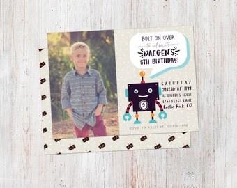 Robot Birthday Invitation, Printable Birthday Invitation, DIY, Robot Party Decor, Robot Party, Boy Birthday, First Birthday, Custom Invite