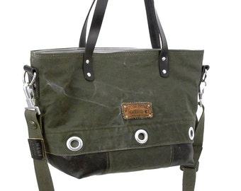 Olive Handbag, Tote Bag, Shoulder Bag, Cross Body Bag, Recycled German Navy Kitbag, Recycled Leather / Handmade & Upcycled in GERMANY - 1896