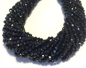Black Spinel faceted TINY round beads 2mm gemstone