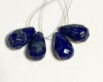 Lapis Lazuli faceted top drilled drop pendants one pair