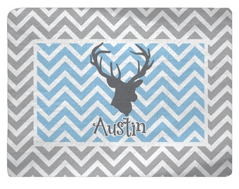 Nursery Deer Head Theme Plush Fuzzy Area Rug - Lt Blue, Grey, White - Size 48x36, 96x44, 96x60-Other Colors available
