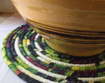 "Coiled Fabric Table Mat, Hot Pad, Trivet - Dark Plum, Lime Green, Cream, Royal Blue - 12"" Round,  Handmade by Me"