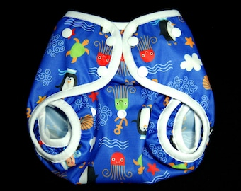 PUL Diaper Cover - Eco Friendly Baby & Toddler Boy - One Size - Penguins Sailors Turtles Octopus PUL Cloth Diaper Cover