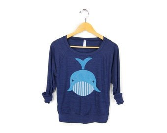 Geo Whale Sweatshirt - Oversized Lightweight Long Sleeve Pullover Raglan Sweater in Heather Navy and Blue - Women's Size XS-2XL