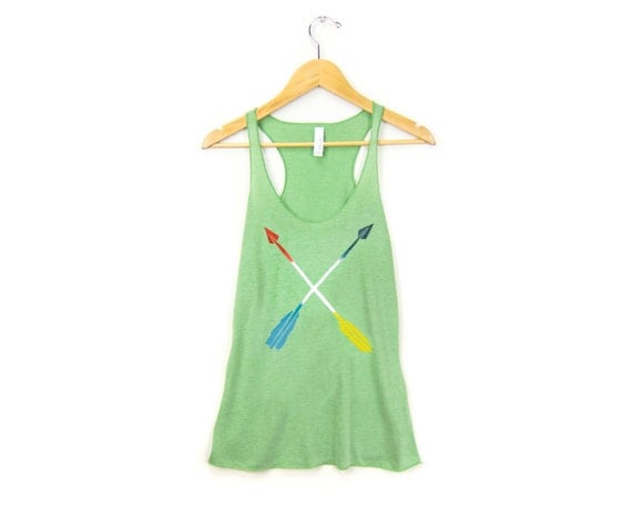 Painted Arrows Tank - Racerback Scoop Neck Long Swing Tank Top in Green and Primary Colors - Women's Size XS-2XL