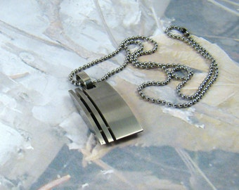Stainless Steel Necklace Heavy Metal Solid Rocker Boho Stainless Steel Signed Necklace - Plus Bonus :)