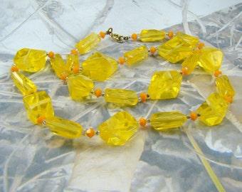 Vintage Lemon Yellow Bead Necklace Grandma's Favorite Mellow Yellow Submarine Big Yellow Taxi Necklace