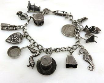Circa 1954 Sterling Silver Charm Bracelet