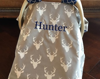 Mod Baby Car seat Covers - Organic Cotton - Deer Buck in Gray with Blue Quatrefoil - shower gift - antler - hunting