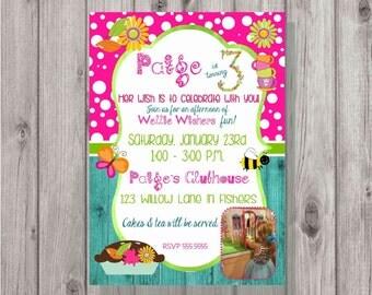 DIGITAL Wellie Wishers Inspired Garden Tea Party Girls Birthday Invitation Photo Style 2