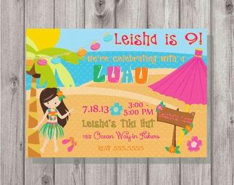 Digital Hula Luau Girl Beach Birthday Party Invitation Printable Print Your Own