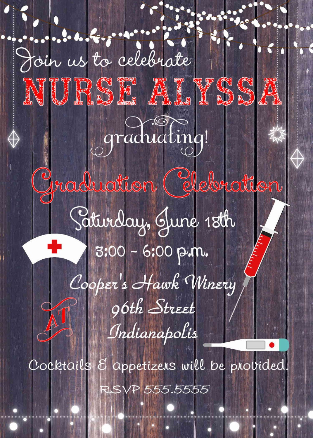 Digital Rustic Lights Nurse Graduation Party Invitation You Print