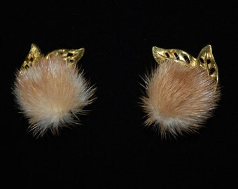 vintage mink earrings with gold accent leaves - 1960's - Hollywood Regency - Starlette