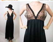 70s Sheer Illusion Nightgown Lingerie / Black Nightie Boudoir / Negligee Bed Dress Sleepwear / 1970s Empire Maxi / Hippie / Medium