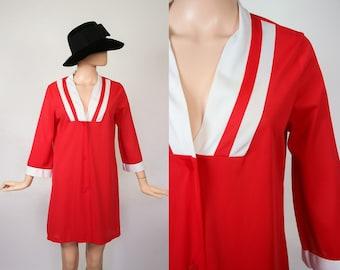 Super Mod 60s Mini Dress Teddy Nightgown / 1960s Babydoll Lingerie / Boudoir Red Negligee / Sleepwear Nightie / Loungewear / Small / Medium