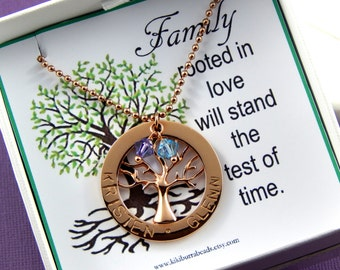 Family Tree necklace, Personalized Family Tree Necklace, Birthstone Necklace, Personalized Mothers Necklace