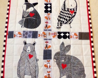 "Baby Quilt Fox Bear Rabbit Owl Wall Hanging Cotton Quilt 34""Wide x 42"" Long Boutique Art Patchwork Batik Cottons betrueoriginals"