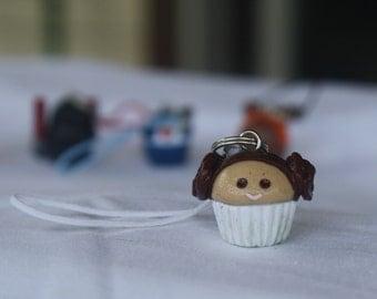 Princess Leia cupcake polymer clay charm- Star Wars inspired