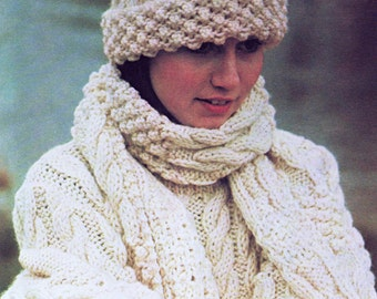 Knitting Pattern For An Aran Hat : Celtic cable hat Etsy