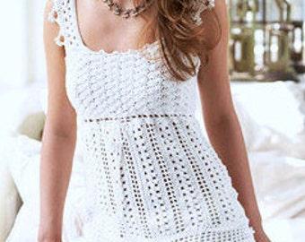 INSTANT DOWNLOAD PDF Vintage Crochet Pattern  Lacy Camisole Top  Vest Tank Blouse tunic Lace