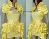 Beauty and the beast Princess Belle cosplay dance costume bustle corset skirt and Shrug Wrap